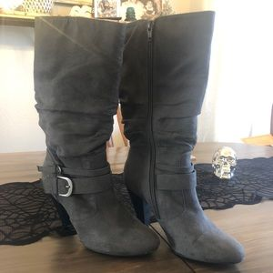 Apt. 9 Grey Slouch Faux Suede High Heel Boot 7.5